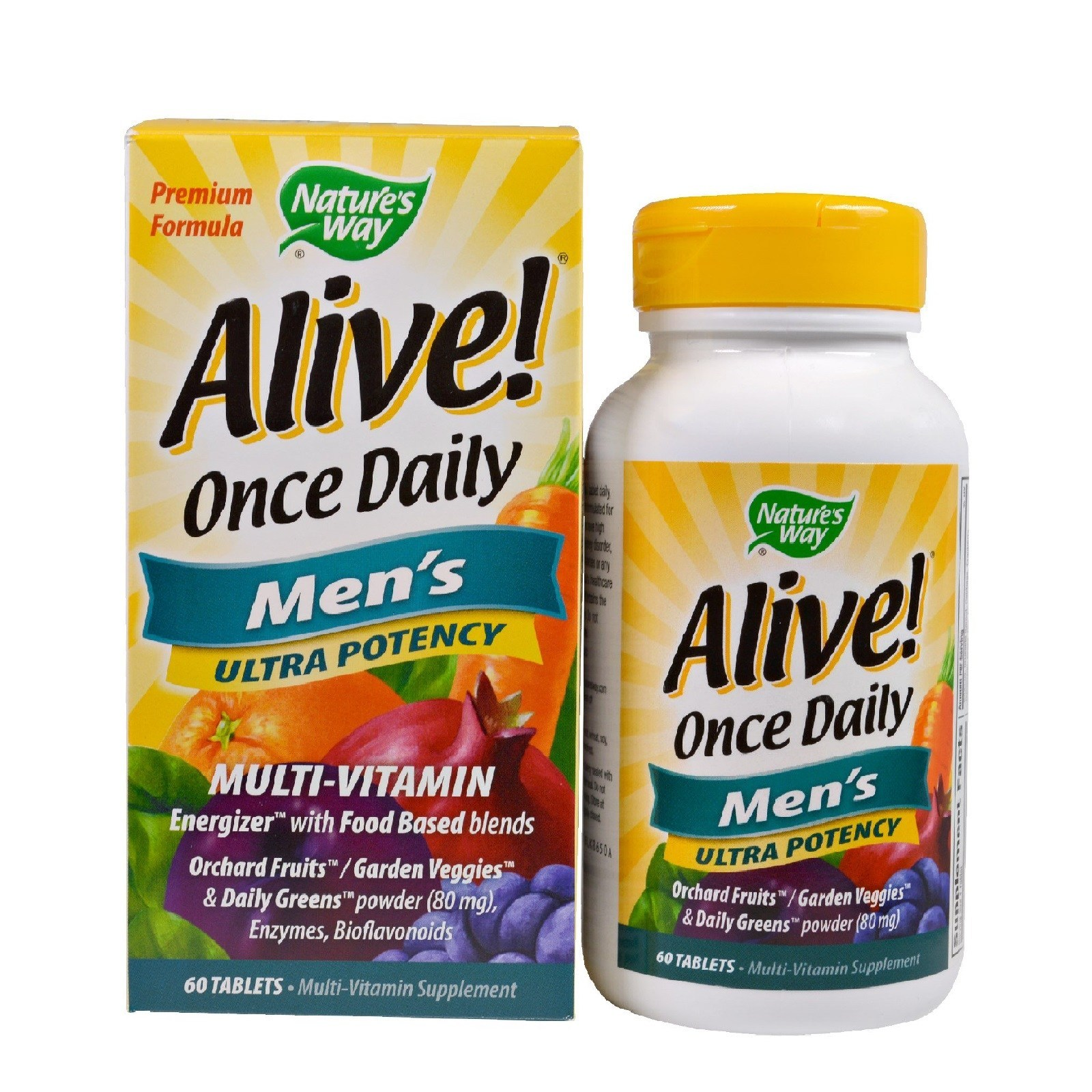 Nature's Way Alive! Once Daily Men's Multivitamin,  Ultra Potency, Food-Based Blends, 60 Tablets – Ultimate Sup